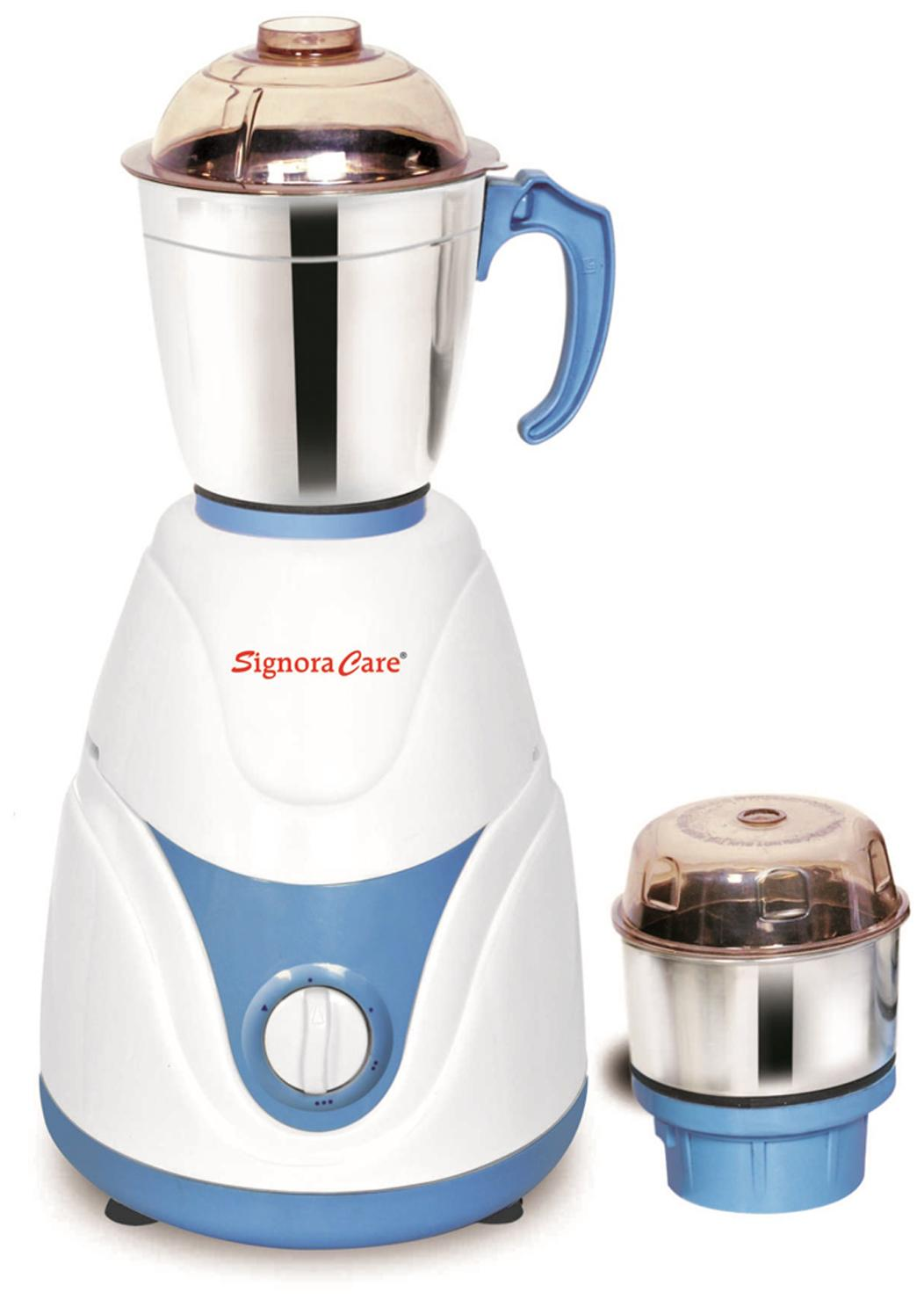 SignoraCare Eco Plus 500 W Mixer Grinder (White & Blue/2 Jar)