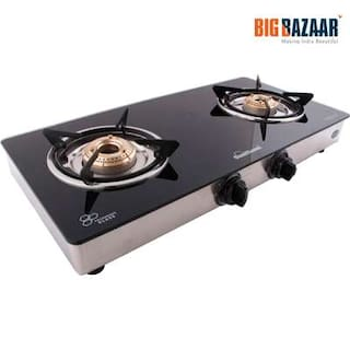 Sunflame Classic 2 Burner Toughened Glass Gas Stove (Black)