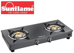 Sunflame 2 Burners Stainless Steel Gas Stove - Black