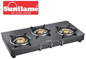 Sunflame 3 Burner Manual Regular Black Gas Stove