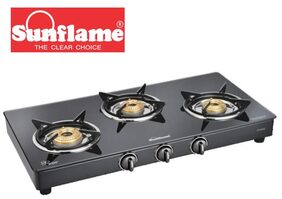 Sunflame Classic 3B BK Toughened Glass Cooktop Manual Ignition