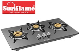 Sunflame 3 Burners Hob Top Gas Stove - Black , Auto Ignition