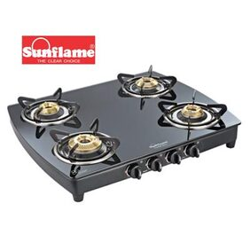 Sunflame Crystal Plus 4B BK Ai Auto Ignition Extra Spacious Toughened Glass Cooktop