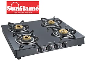Sunflame Crystal 4B BK Toughened Glass 4 Burner Gas Stove Manual Ignition