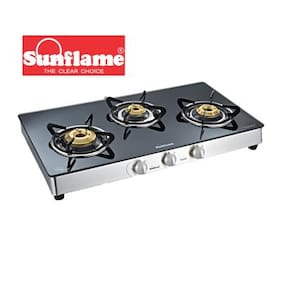 Sunflame Crystal 3B SS Toughened Glass 3 Burner Gas Stove Manual Ignition
