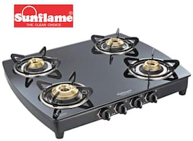 Sunflame 4 Burners Stainless Steel Gas Stove - Black