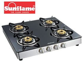 Sunflame Crystal 4B SS Toughened Glass 4 Burner gas Stove Manual Ignition