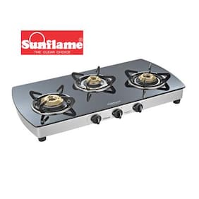 Sunflame Crystal Plus 3B SS Extra Spacious Toughened Glass 3 Burner Gas Stove Manual ignition