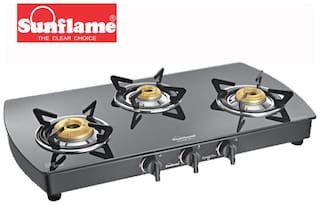 Sunflame 3 Burners Gas Stove - Black
