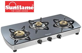 Sunflame 3 Burners Stainless Steel Gas Stove - Silver , Auto Ignition