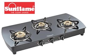 Sunflame Crystal Plus 3B BK Extra Spacious Toughened Glass 3 Burner Gas stove Manual Ignition