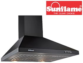 Sunflame 60 cm 850 m3/h Push button control Stainless steel Chimney - 140 w , Black , FUSIONBK