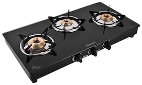 Sunflame LPG STOVE CRYSTAL 3B NOVA BK 3 Burner Regular Black Gas Stove , ISI Certified