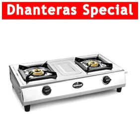 Sunflame 2 Burners Stainless Steel Gas Stove - Silver