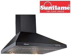 Sunflame 60 cm 1100 m3/h Push button control Stainless steel Chimney - 150 watts , Black , VENZABK