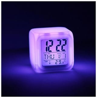 Sunrise 7 Colour Changing LED Digital Alarm Clock with Date, Time, Temperature For Office Bedroom (Pack Of 1)