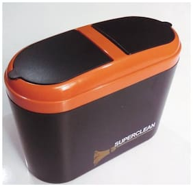 Super Clean Car Mini Trash Rubbish Can Garbage Dust Dustbin Box Case (orange)