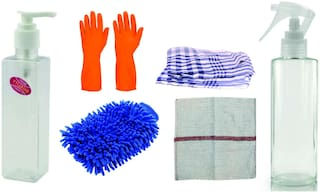 Super Cleaning Combo - 1Pc Spray Bottle 200ml, 1Pc Soap Dispenser 200ml - 1Pc Rubber Glove - 1 pair Microfibre Glove - 1Pc Floor Duster 18x18inch - 1Pc Kitchen Duster 17 x 17inch