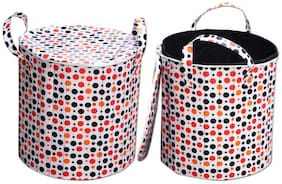 Super India Waterproof Foldable Washing Clothes Laundry Basket Bag Hamper Bin Storage Box With Closing Head/hard Cardboard Base Inside With Outer Plastic Paper Colorful Sheet (40 Dia) Round