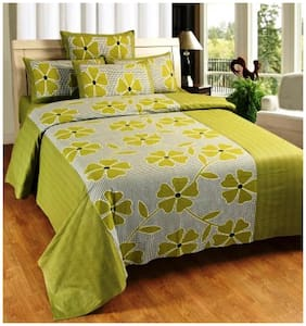 Super India Floral Green Double Bed Sheet with two pillow cover 3 pcs