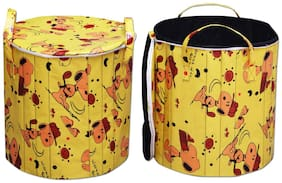 Super India Waterproof Foldable Washing Clothes Laundry Basket Bag Hamper Bin Storage Box With Closing Head/hard Cardboard Base Inside With Outer Plastic Paper Colorful Sheet (50 Dia) Round
