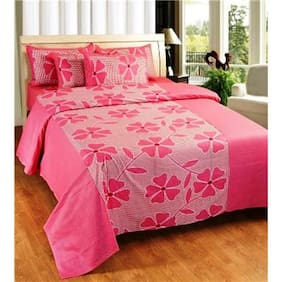 Super India Floral Pink Double Bed Sheet with two pillow cover 3 pcs