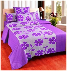 Super India Floral Purple Double Bed Sheet with two pillow cover 3 pcs