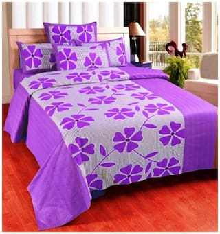 Super India Microfiber Abstract Double Size Bedsheet 104 TC ( 1 Bedsheet With 2 Pillow Covers , Purple )
