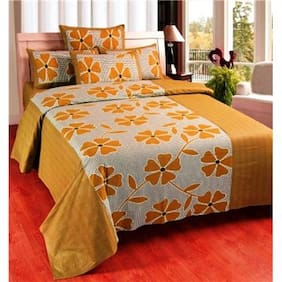 Super India Floral Beige Double Bed Sheet with two pillow cover 3 pcs
