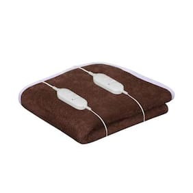 Super India Double Bed Heating Electric Blanket with Two Controller Coral Fleece (150x150cm)Brown