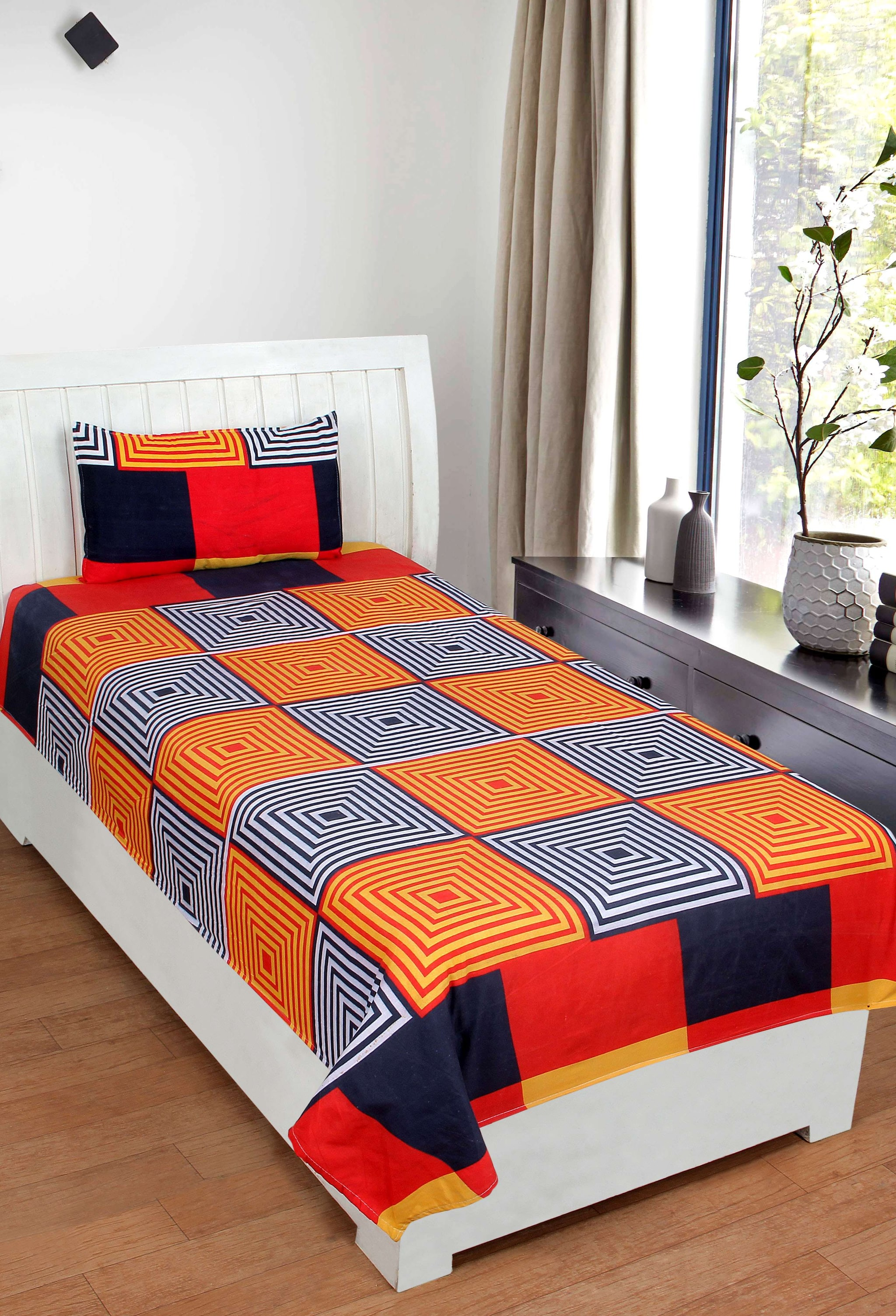 Super India Polycotton Orange Single Bedsheet (Set Of 2)