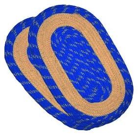 Super India Oval Blue Door Mat (Set of 2)