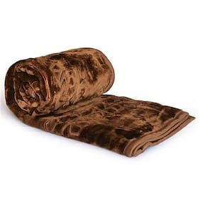 Super India Luxurious Single Bed Embossed Mink Blanket - Coffee