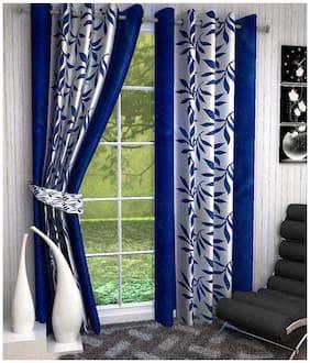 Super India Printed Blue Door Curtain 2 Piece Set