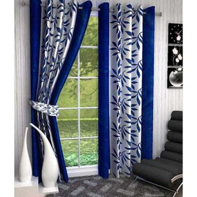 Super India Polyester Blue Curtain Set Of 2 -