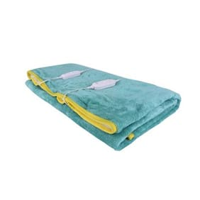 Super India Polyester Solid Double Size Electric Blanket Green