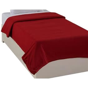 Super India Polar Fleece Red Single Bed Blanket 1 Pc