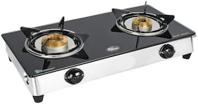SuperChef 2 Burner Regular Black Gas Stove , ISI Certified