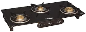 SuperChef 3 Burner Regular Black Gas Stove , ISI Certified