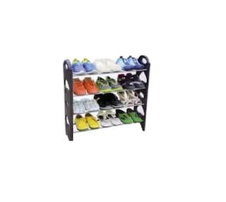 SUPERTEXON Multi-Purpose Plastic Shoe Rack - (4 Tier, Black)