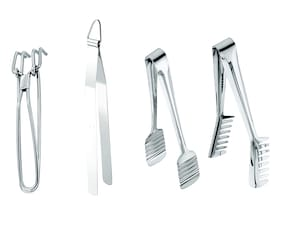 SUPERTEXON Petals Stainless Steel Set of 4 Tongs - Wire Tong;Roti Chapathi Tong;Cake Tong;Spaghetti Tong