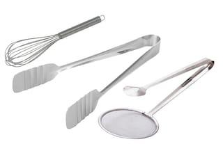 Supertexon Stainless Steel Egg Whisk + Cake Tong + 2 in 1 Fry Tool Filter Spoon