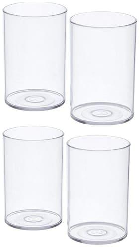 SUPREMACY 4 Pcs. Unbreakable Stylish Transparent Glass Set 300 Ml| ABS Poly Carbonate Plastic 300 ml Magic Glasses