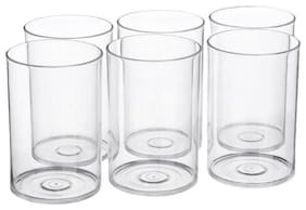 SUPREMACY  Multi Purpose Unbreakable Drinking Glass Set of 6 Pieces, ABS Poly Carbonate Plastic,300 ml Capacity Each, Clear Glass (Unbreakable)