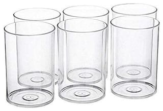 SUPREMACY Multi Purpose Unbreakable Drinking Glass Set of 6 pcs, ABS Poly Carbonate Plastic,300 ml Capacity Each, Clear Glass (Unbreakable)