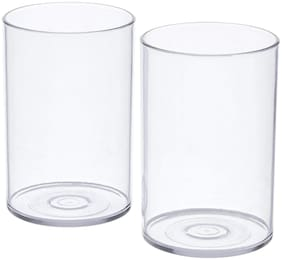 SUPREMACY   Unbreakable Drinking Glass Set of 2 Pieces, ABS Poly Carbonate Plastic,300 ml Capacity Each, Clear Glass (Unbreakable)