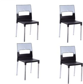 Supreme Diva Set Of 4 Chairs, Red-Black Plastic Outdoor Chair