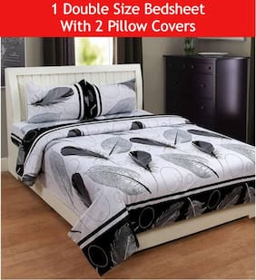 Supreme Home Collective Microfiber Floral Double Size Bedsheet 104 TC ( 1 Bedsheet With 2 Pillow Covers , Black )