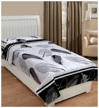 Supreme Home Collective Microfiber Printed Single Size Bedsheet 144 TC ( 1 Bedsheet Without Pillow Covers , White & Black )
