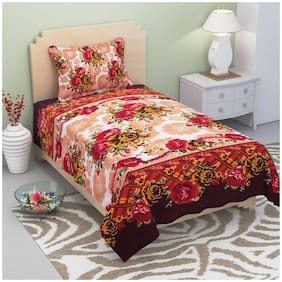 Supreme Home Collective Microfibre Floral Single Bedsheet ( 1 Bedsheet With 1 Pillow Covers , Red )